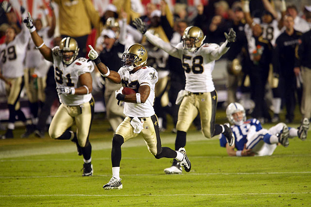 Five years after Hurricane Katrina touched down off the coast of New Orleans, the New Orleans Saints found themselves in the Super Bowl.  After scoring a touchdown in the fourth quarter to go up 24-17 over the Indianapolis Colts, the Saints were being picked apart by Peyton Manning. Manning's one errant throw, however, ended up in the hands of Saints cornerback Tracy Porter, whose 74-yard return brought the whole French Quarter to its feet.  (Send comments to siwriters@simail.com)