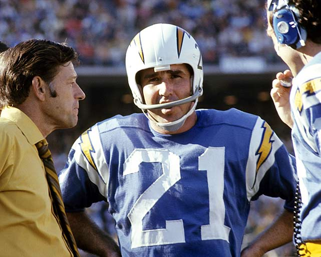 San Diego Chargers quarterback John Hadl discusses strategy with head coach Charlie Waller during a Nov. 8 matchup with the Denver Broncos. Their plan must've worked -- Hadl picked apart Denver for three passing touchdowns in a 24-21 Chargers win.