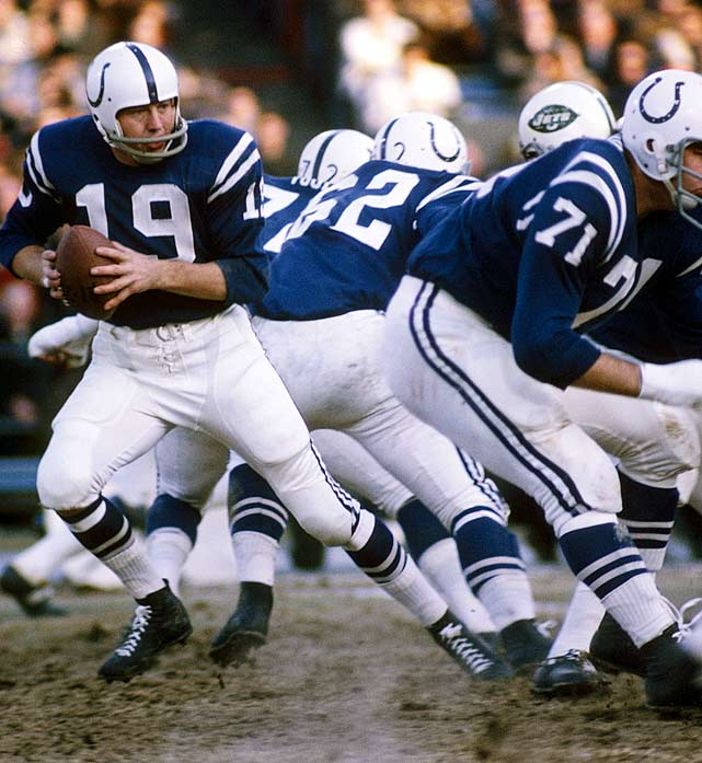 Hall of Fame quarterback Johnny Unitas shuffles back to pass during the team's final regular season game, a 35-20 Baltimore Colts victory over the New York Jets. After offering up 18 interceptions over the course of the year, Unitas was benched in favor of Earl Morrall to start the game. He regained his starting spot before the playoffs however, eventually leading Baltimore to its first Super Bowl title.