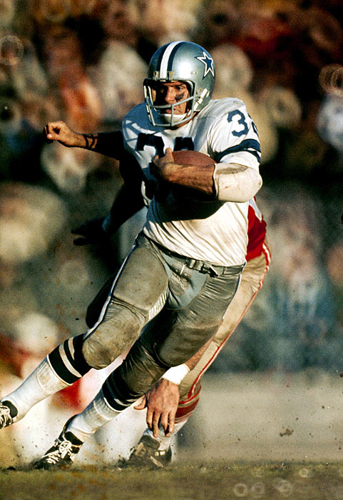 Dallas Cowboys running back Walt Garrison gallops into the open field during the 1970 NFC Championship Game against the San Francisco 49ers. Garrison was very productive in the game, compiling 71 rushing yards, 51 receiving yards and the Cowboys' sole receiving touchdown in their 17-10 win. Dallas would go on to lose Super Bowl V to the Baltimore Colts 16-13.