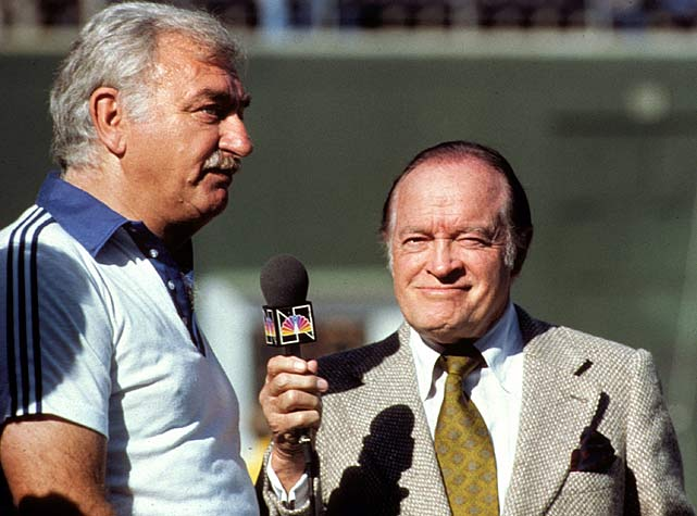 Actor Bob Hope interviews San Diego Chargers president Eugene V. Klein. Behind the strength of quarterback Dan Fouts 4,715 passing yards, Klein's Chargers went 11-5 before losing to the Oakland Raiders in the AFC Championship Game.