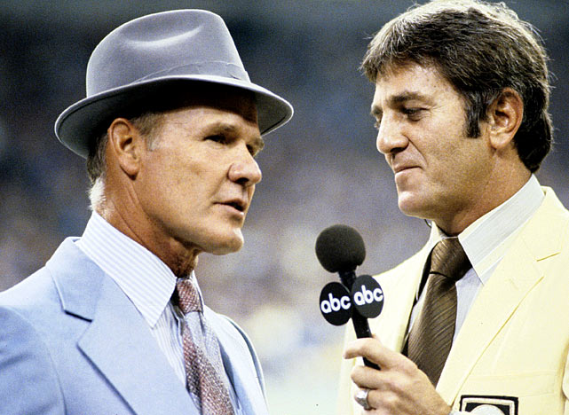 Broadcaster Don Meredith interviews legendary Dallas Cowboys coach Tom Landry. Landry's squad finished 12-4 that year and lost in the NFC Championship Game to the Philadelphia Eagles.