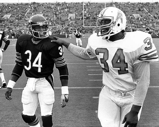 Future Hall of Fame running backs Earl Campbell (right) and Walter Payton share a laugh following the Houston Oilers game against the Chicago Bears on Nov. 16. Campbell led the league with 1,934 rushing yards in 1980, while Payton finished second with 1,460.