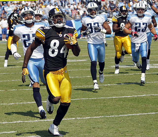 Steelers rookie wide receiver Antonio Brown wasn't even in uniform during Week 1.  But in Week 2, Brown was not only in uniform, but also igniting the Steelers' offense. On the opening kickoff, Brown took a handoff from Mewelde Moore on a reverse and raced untouched for an 89-yard touchdown. Coach Mike Tomlin said the Steelers called for the trick play because he knew the Steelers would have trouble moving the ball against a stout Tennessee Titans defense.