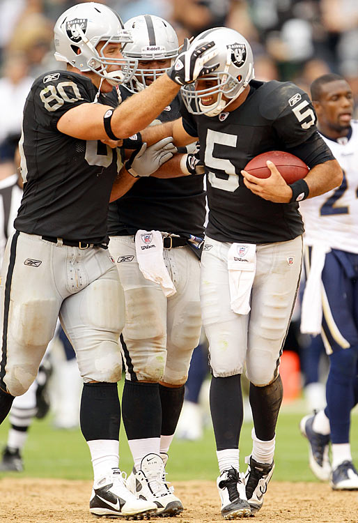 After 2.5 seasons of JaMarcus Russell, the Oakland Raiders, you would think, would have more patience for a mediocre quarterback.  But after a middling first half by Jason Campbell against the St. Louis Rams, Raiders coach Tom Cable pulled him and inserted Bruce Gradkowski. He sparked the Raiders, passing for 162 yards as they came back to defeat the Rams 16-14.