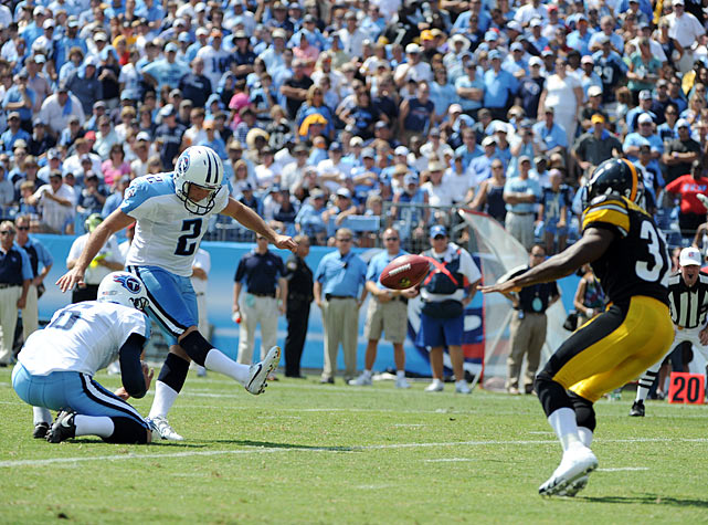Trailing the Steelers 19-11 in the fourth quarter, Titans kicker Rob Bironas lined up for an onside kick. In a clever form of deception however, Bironas faked to the left before kicking at an unsuspecting Steelers defender in the middle of the field. Unprepared, the Steelers defender muffed the ball, and Titans defender Colin Allred recovered. Unfortunately for the Titans, they failed to score and lost 19-11.