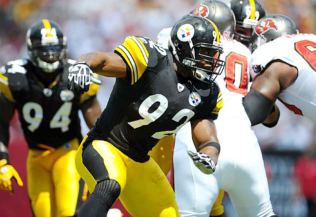 The former NFL Defensive Player of the Year, Pittsburgh linebacker James Harrison battled for three tackles in the Sept. 26 contest.