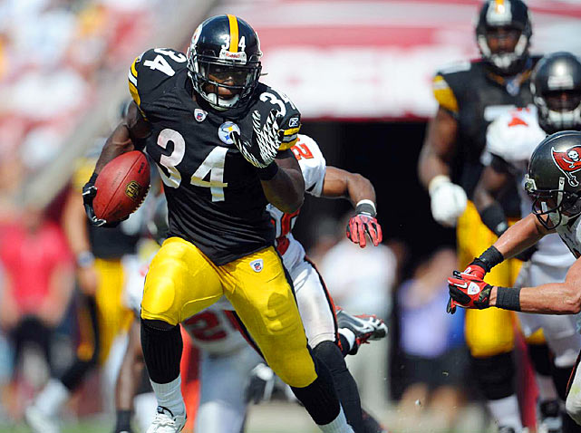 A physical, downhill runner, Rashard Mendenhall burst through Tampa Bay's porous defense for 143 rushing yards and a touchdown last Sunday. Mendenhall has 332 yards so far on the season as the Steelers' featured back.
