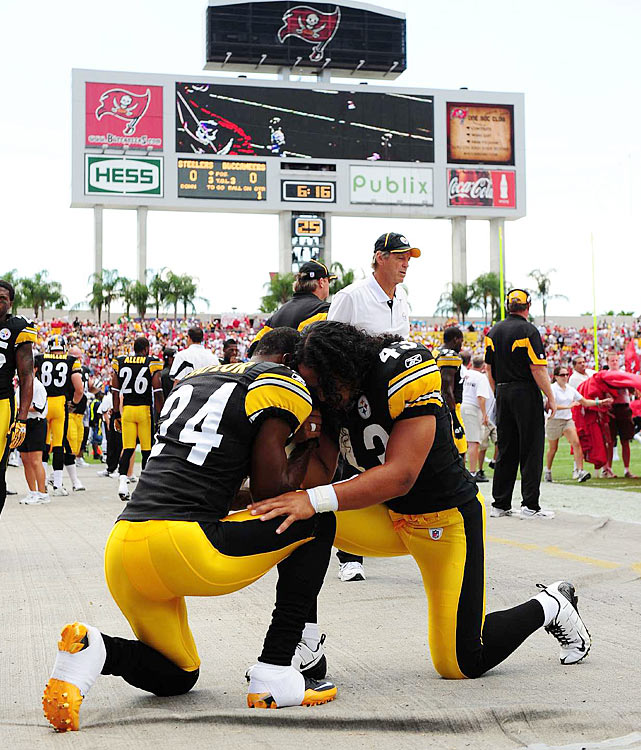 Steeler secondary mates Ike Taylor and Troy Polamalu pray before their Week 3 matchup with the Bucs.  The Pittsburgh defense has made offenses pray early in the 2010 season, limiting the Falcons, Titans and Bucs to a meager 59.7 rushing yards per game.