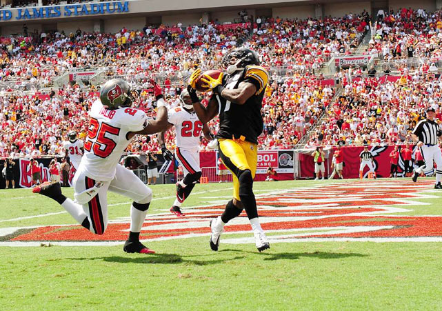...the ball ended up in Wallace's arms anyway.  The Batch-to-Wallace connection gave Tampa Bay fits all afternoon, totaling 100 yards and two touchdowns in Pittsburgh's 38-13 rout.