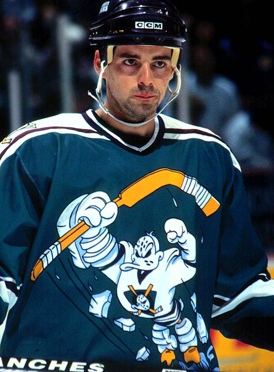 When it came to shameless cross-promotion, few teams could top the Disney-owned Ducks, who used their players to plug the Mighty Ducks movie franchise. This corker of a jersey looks like a mash-up of Teenage Mutant Ninja Turtles and Slap Shot. After one season, it was dispatched to the fashion penalty box, from where it has (thankfully) never gotten free.