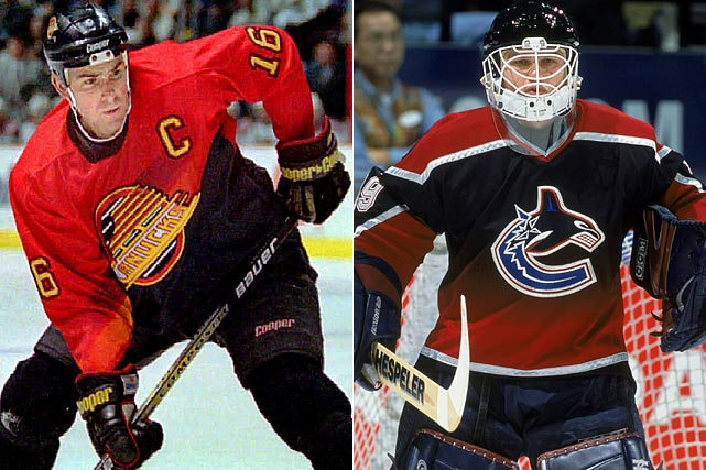 The good folks in Vancouver who gave the world some of the most memorably garish gladrags in hockey history -- the Canucks' eyepopping orange, yellow and black V-necked sweaters of the late 1970s and early '80s -- launched another psychedelic assault in '95 with a new alternate. The later model on the right isn't all that bad, just a far cry from the team's current, and blessedly soothing, blue, green and white scheme.