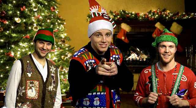 "In grand style, the Windy City's finest warble -- or is it wobble? -- their way through such timeless hymns as ""Patrick Sharp is Coming To Town"", ""Bickell Bells"", ""Frolik Navidad"" and ""Lepisto, Lepisto, Lepisto"".   Click here for the heartwarming video."