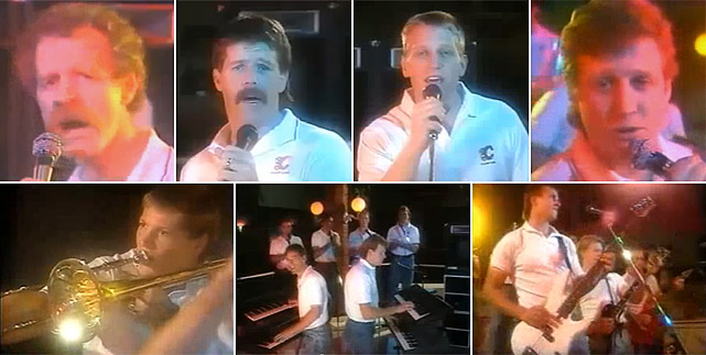 "Making like Tower of Power with the horn segment, members of the 1987 Calgary Flames -- that's a young Brett Hull lip-synching ""Red Hot"" to beat the band -- pretty much set the standard for team torch songs.   Click here for video."