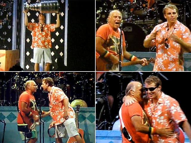 "Winning has its perks, and for the Blackhawks winger that meant gambolling onstage with hockey's hallowed silverware and joining tropical pop icon Jimmy Buffett for a spirited version of ""Boat Drinks"" at Toyota Park in Bridgeview, IL.   Click here for video."