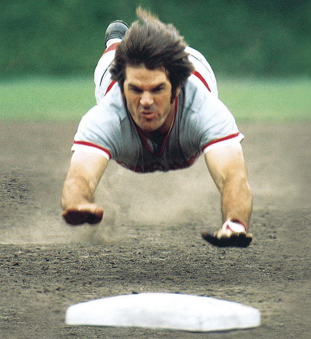 Rose was the backbone of the Big Red Machine due to his hustle (including head-first slides) and his consistency at the plate.