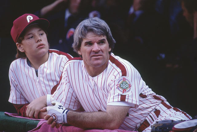 Rose and son Pete Jr. sit in the Phillies dugout. Though the Phillies reached the World Series in 1983, the season was a disappointment for Rose, who batted just .245 and lost his role as everyday starter.