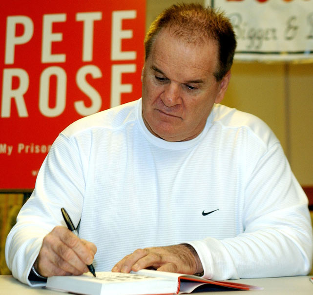 Rose autographs his book Pete Rose My Prison Without Bars during an appearance at Bookends Bookstore in Ridgewood, N.J. The publication of the book marked the first time Rose admitted publicly to betting on baseball games and other sports while playing for and managing the Reds.