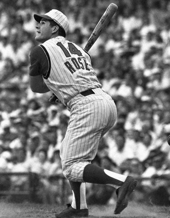 Pete Rose broke into the big leagues in 1963 and became a star in 1965, when he led the league in hits (209) and at-bats (670), finishing sixth in the NL MVP race.