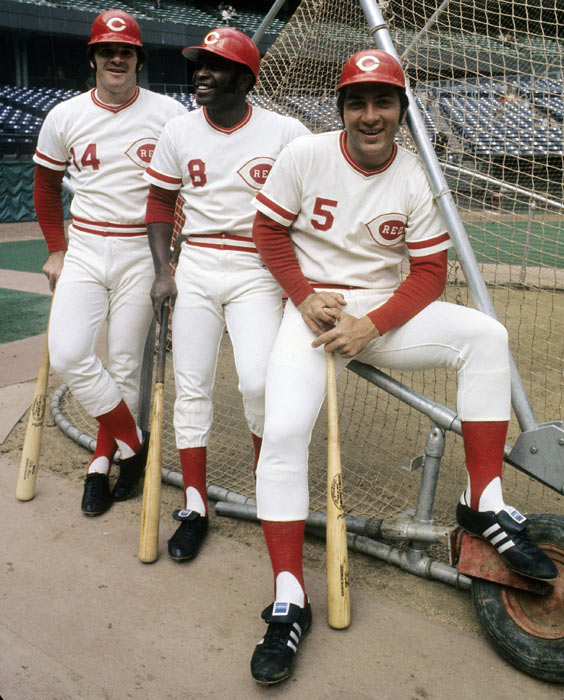"""Rose with Johnny Bench and Joe Morgan of """"The Big Red Machine."""""""