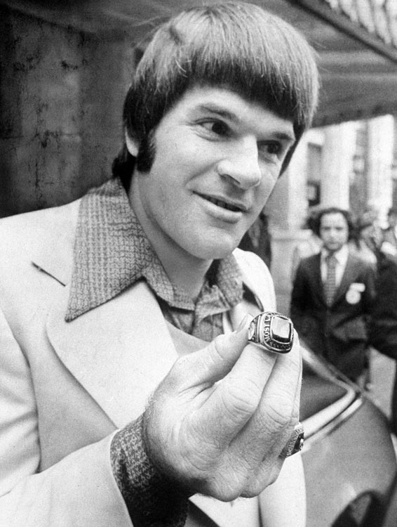 Rose shows off his World Series ring outside the Plaza Hotel in New York. The 1976 Reds swept the Yankees 4-0 in the World Series and became the only team since the expansion of the playoffs (in 1969) to go undefeated in the postseason.