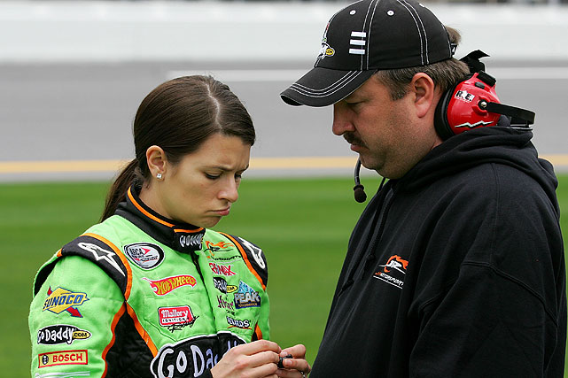 Nationwide crew chief Tony Eury Jr. imparts some words of wisdom on Danica during qualifying for the ARCA Racing Series Lucas Oil Slick Mist 200 at Daytona. She would go on to notch a sixth-place finish in the race.