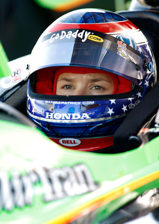 Danica awaits the start of practice for the third race of the IndyCar season, the Grand Prix of Alabama, at Barber Motorsports Park. She finished 19th, with Helio Castroneves taking the top spot.