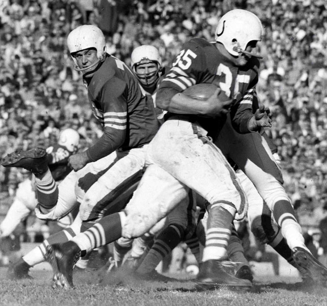 "Nicknamed ""The Horse,"" Ameche played six seasons for the Baltimore Colts after being named the Heisman Trophy winner at University of Wisconsin-Madison in 1954. Although he's best known for scoring the game-winning touchdown in the 1958 Super Bowl, Ameche also had one of the best Week 1 performances in NFL history: a 21-carry, 194-yard outburst against the Bears."