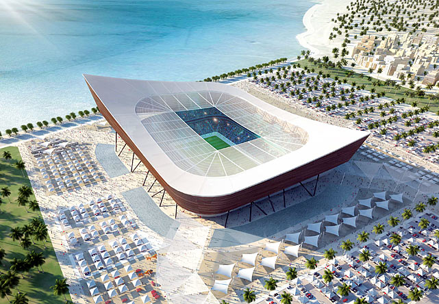 "The Al-Shamal stadium is pictured in this artists impression. It's shape was derived from the traditional ""dhow"", the local fishing boats of the Persian Gulf."