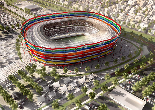 The Al-Gharafa stadium is pictured in this artists impression. The facade will be made up of the colors of the flags of all countries that have qualified for the 2022 FIFA World Cup to symbolize football and the friendship, respect and understanding.