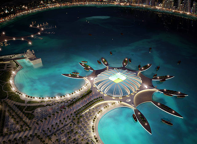 The Doha Port stadium is pictured in this artists impression as Qatar 2022 World Cup bid unveiled its stadiums on September 16, 2010 in Doha, Qatar. The architecture of the stadium references its location by creating a shape reminiscent of a marine animal.