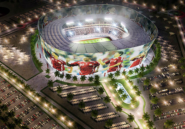 "The Al-Rayyan stadium  is pictured in this artists impression. It has been designed to include a ""media facade"" that includes a membrane that acts as a screen for projections; news, commercials, sports updates and current tournament information and matches."