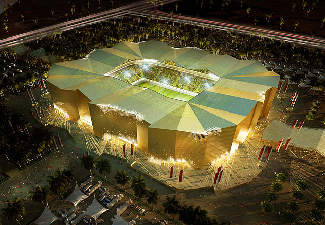 The Umm Slal stadium is pictured in this artists impression. The architectural concept takes it's inspiration from a nearby beautiful old fort.