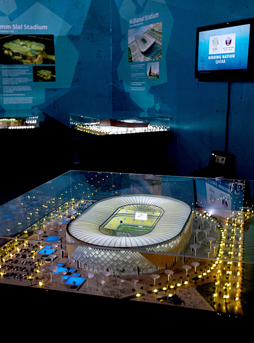A model of the Al-Shamal stadium is displayed during a tour by FIFA officials who are inspecting Qatar's 2022 World Cup hosting bid in Doha as the Gulf country tries to convince the FIFA inspectors that it can overcome the scorching heat by cooled carbon neutral stadiums.