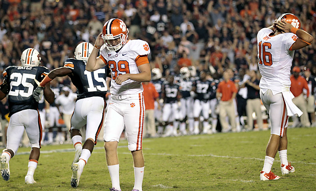 Wes Byrum kicked a 39-yard field goal in overtime and Clemson's Chandler Catanzaro (No. 39) missed a do-over kick to tie as Auburn rallied from 1 17-0 deficit. The game appeared headed to another OT when Catanzaro made a 27-yarder. After a 5-yard illegal procedure penalty on the kick, the redshirt freshman's second attempt hooked wide left, touching off a big celebration.