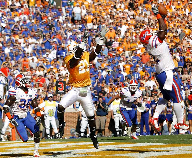 The Gators got off to another sluggish start, leading the Vols just 7-3 at the half. But Florida picked off two Matt Simms passes and converted a game-changing fake punt when the score was knotted at 10, ultimately wearing down Tennessee for a third straight win in Knoxville.