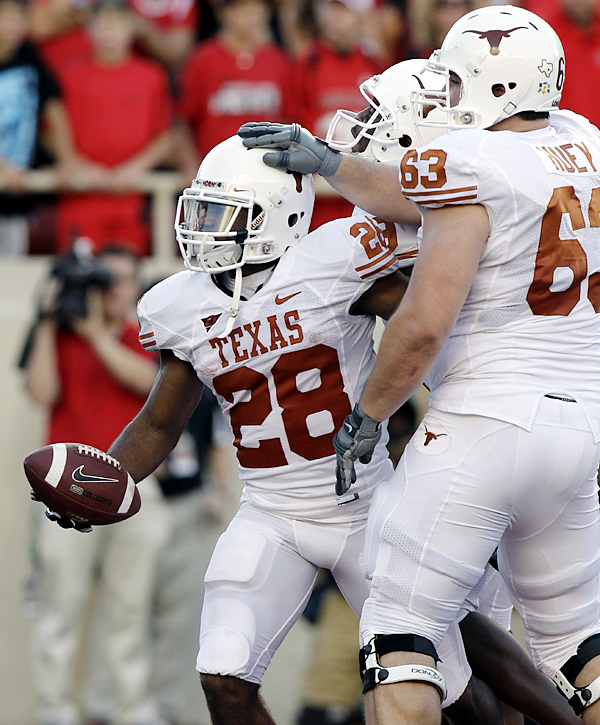 Foswhitt Whittaker got Texas off to a good start, scoring in the first quarter, and the defense made life tough on Taylor Potts all night, limiting him to 159 passing yards. Texas put the game out of reach in the fourth quarter after draining more than nine minutes off the clock. The 22-play drive included a risky and successful fake punt on fourth-and-1 on its own 29.