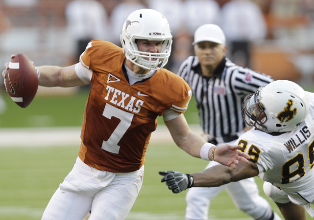 Texas scored early and often, easily defeating an inferior Wyoming team. Sophomore quarterback Garrett Gilbert doesn't have Longhorn fans forgetting about Colt McCoy yet, but did complete 22 of 35 passes for 222 yards and a touchdown.
