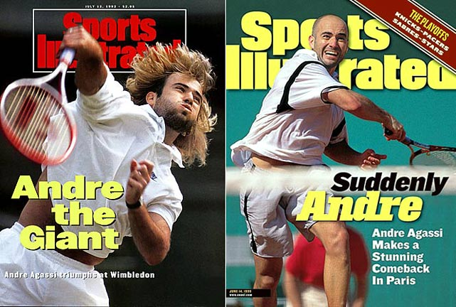 "With his long hair and flamboyant style, Andre Agassi stormed onto the professional tennis scene at 16. He won eight Grand Slam singles tournaments in 15 Grand Slam final appearances and is the only male to win the ""Career Super Slam"" (winning all four Grand Slams, the Olympic singles gold medal and the ATP World Tour Finals). He is married to Steffi Graf, owner of 22 Grand Slam singles titles."