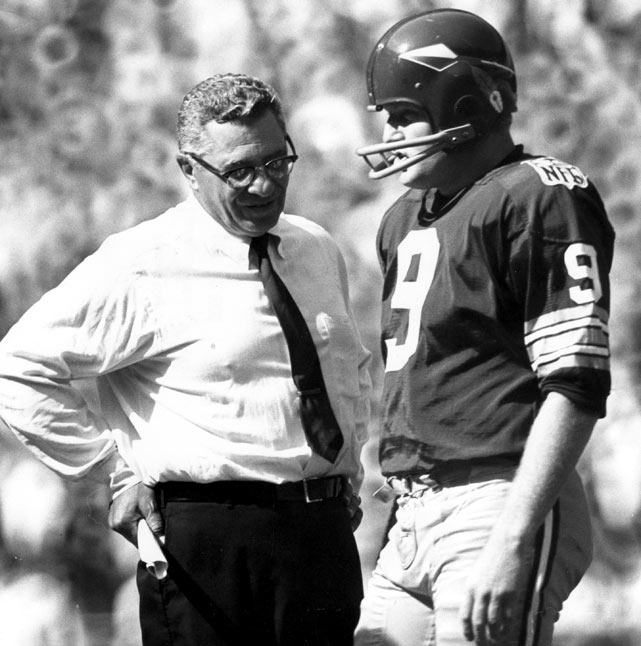 In 1969, Lombardi returned to the sideline as head coach and general manager of the Washington Redskins. Here he talks with quarterback Sonny Jurgensen.