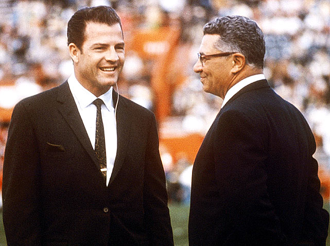Frank Gifford, working as a broadcaster for CBS, interviews Lombardi before the Packers 33-14 win over the Raiders in Super Bowl II. Lombardi would step down as coach after this game but continue as Green Bay's GM.