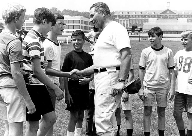 Lombardi greets fans at the Redskins training field at Georgetown University.