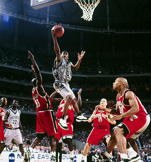 Iverson blows past a helpless group of Texas Tech defenders during their Sweet 16 matchup with Georgetown in the 1996 NCAA Tournament. Iverson was brilliant -- spearheading a 98-90 Hoya victory -- to set up an Eastern Regional showdown with top-seeded UMass. The Hoyas didn