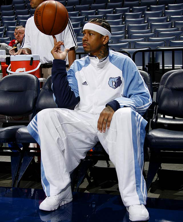 "In September 2009, Iverson agreed to a one-year deal with the Memphis Grizzlies, proclaiming, ""God chose Memphis as the place that I will continue my career."" He didn't continue it for too long, as the contract was terminated after only three games due to Iverson's displeasure with his role coming off the bench. Iverson announced his retirement but soon thereafter re-signed with the 76ers. He appeared in 28 games but did not play again after taking a leave in late February."