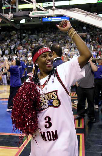 Always his biggest fan, Iverson's mother, Ann, roots for her son during Game 5 of the Eastern Conference Finals in 2001. She had plenty to cheer about. Iverson contributed 15 points in Philly's 89-88 win; they clinched the series in seven games.
