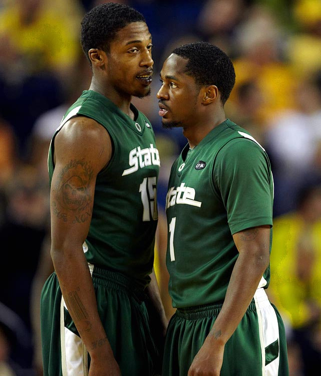 The dismissal of senior shooting guard Chris Allen, the Spartans' best three-point gunner, certainly hurts. But Lucas (right), who's returning from a ruptured Achilles he suffered in the second round of the NCAA tournament, is the best player in the Big Ten -- and one of the best point guards in the nation -- if he's healthy. Summers (left) showed flashes of brilliance in the NCAAs, scoring double-figures every tourney game, and Lucious gained invaluable experience by admirably filling in for Lucas at the point.