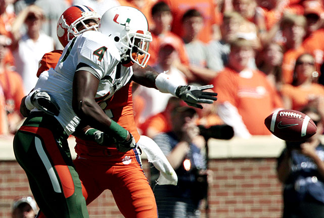 Clemson entered this contest having committed the fewest turnovers in the ACC (two through three games). But Miami's defense forced three fumbles and three interceptions and quarterback Jacory Harris delivered four touchdown passes to help the Hurricanes open ACC play with a 30-21 win.
