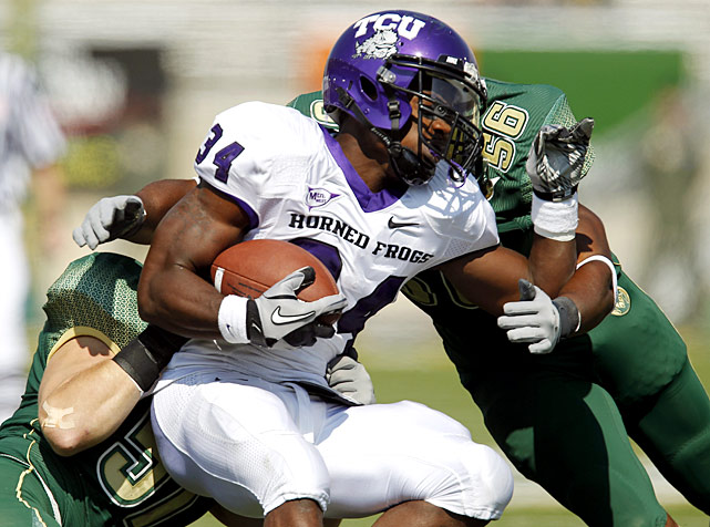 TCU started slow in its first game of the season outside of the state of Texas, leading just 6-0 at halftime. But Ed Wesley's two third-quarter touchdowns helped the Frogs pull away, as did a season-high 346 rushing yards and two forced fumbles.