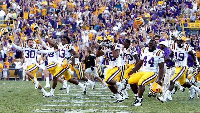 Trailing 14-10, a confused LSU squad allowed the clock to run nearly to zero while subbing in new players. Then the Tigers botched the snap. Tennessee players swarmed the field in celebration. Then the flags came. Tennessee had subbed in new players along with LSU, and 13 Volunteers ended up on the field. LSU got to run one more play with time expired, and Stevan Ridley punched in a one-yard winning score.