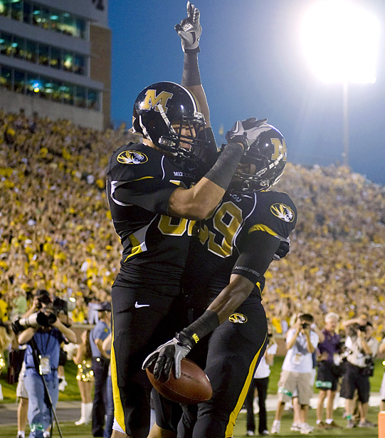 The Tigers' shutout win will undoubtedly give older Missouri fans some solace for the 20th anniversary of the infamous 5th Down Game. Of course, to receiver Jerrell Jackson (right -- 3 catches, 51 yards, 1 TD), it simply means a 5-0 start for Mizzou.